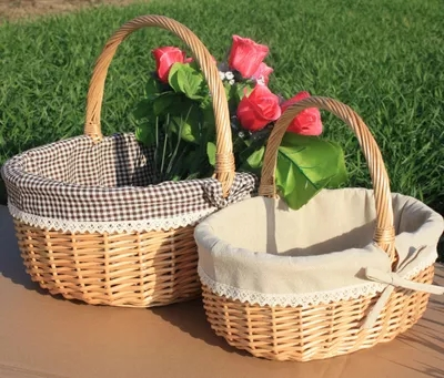 Wicker rattan basket portable fruit basket picnic basket egg and flower shopping gift basket