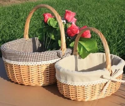 籐籐バスケットポータブルフルーツバスケットピクニックバスケット卵と花ショッピングギフトバスケット  グループ上の ホーム&ガーデン からの ストレージバスケット の中 1