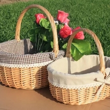 Wicker rattan basket portable fruit basket picnic basket egg and flower shopping gift basket(China & Buy picnic gift baskets and get free shipping on AliExpress.com