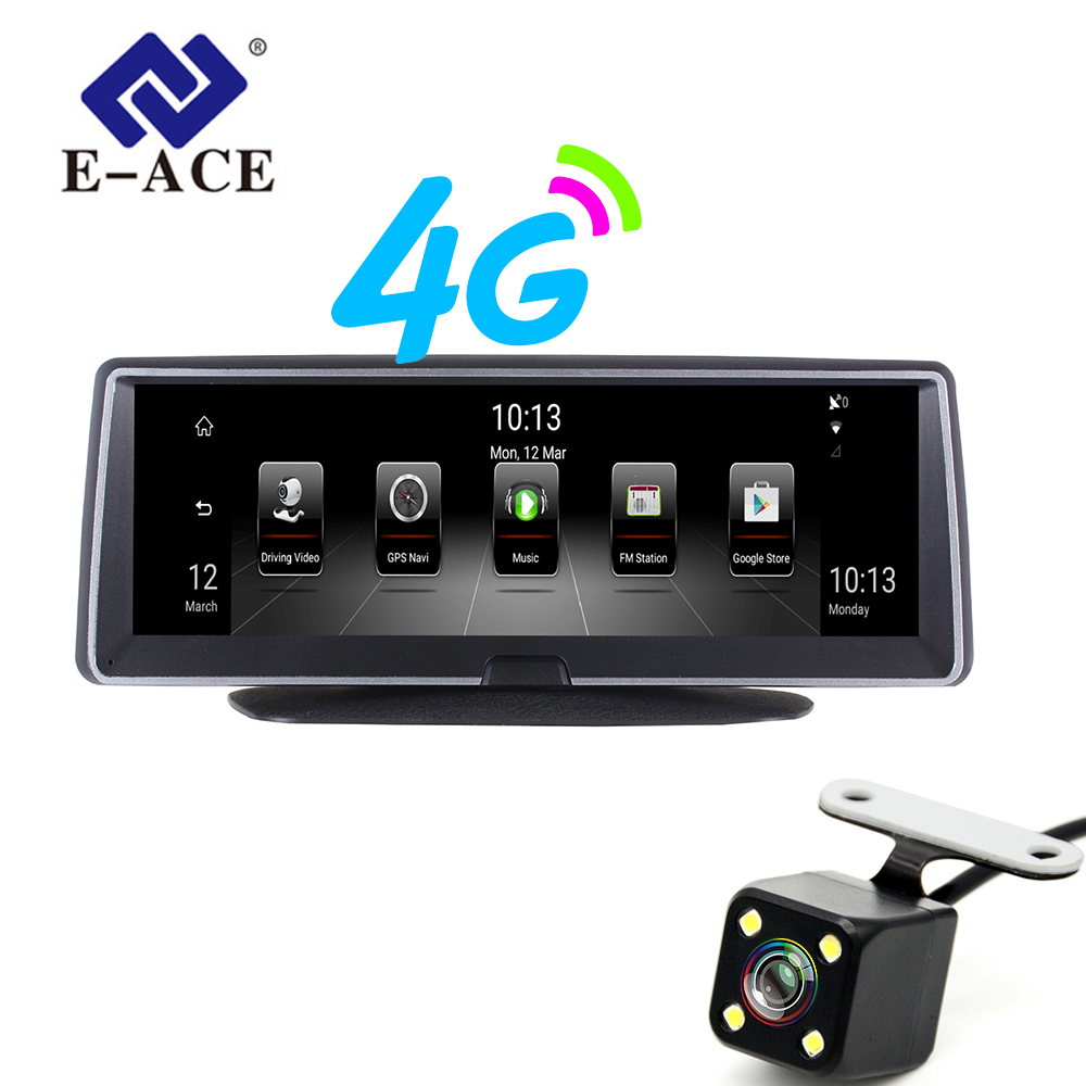 E-ACE 8 Inch 4G Android Dual Lens Car DVR GPS Navigator ADAS Full HD 1080P Dash Camera Auto Video Registrar Navigation Recorder