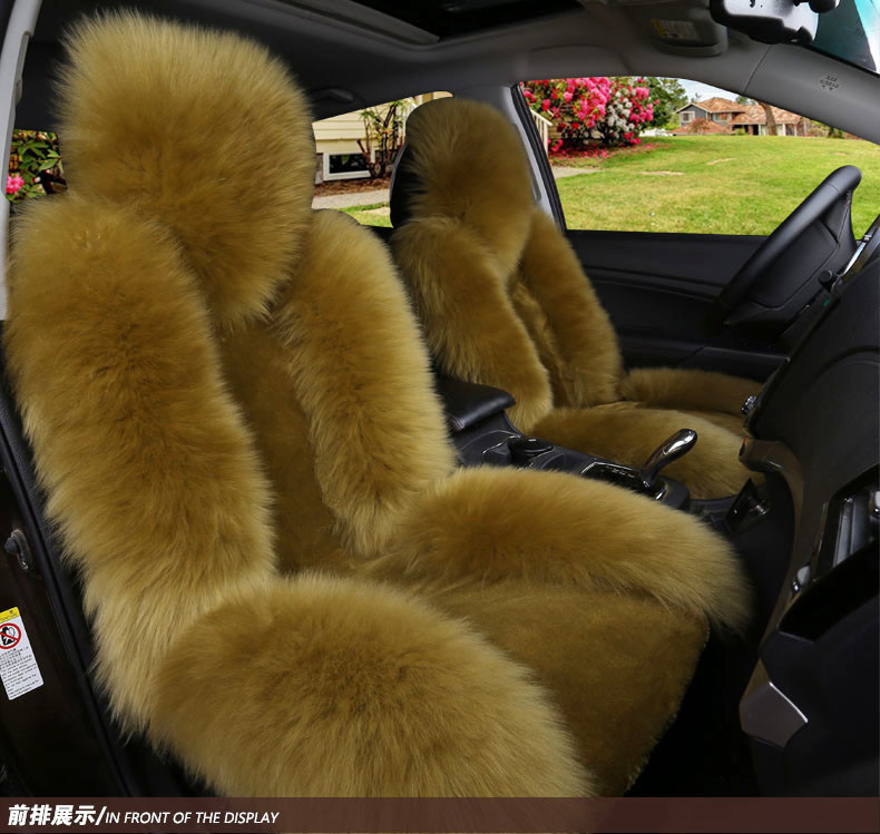 Single Car Seat Cushion Sheepskin Car Front Seat Cover Winter Warm Woolen Auto Seat Cover Long woolen with Short Artificial fur 1 pc australian natural woolen winter warm fur car front single seat cover sheepskin for all cars