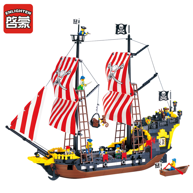 ENLIGHTEN 870Pcs Pirate Series Pirates Black Pearl Battle Ship Brick Minifigures Toys Building Block Set Compatible