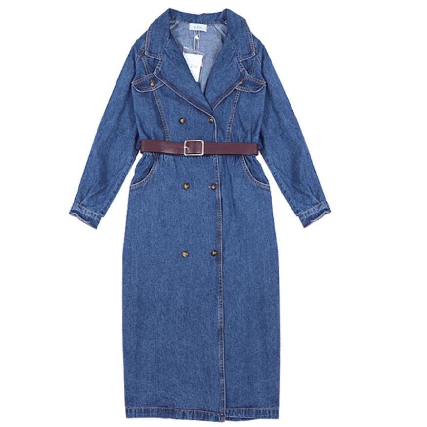 autumn new Women denim   trench   coat long windbreaker vintage long sleeve double breasted coat