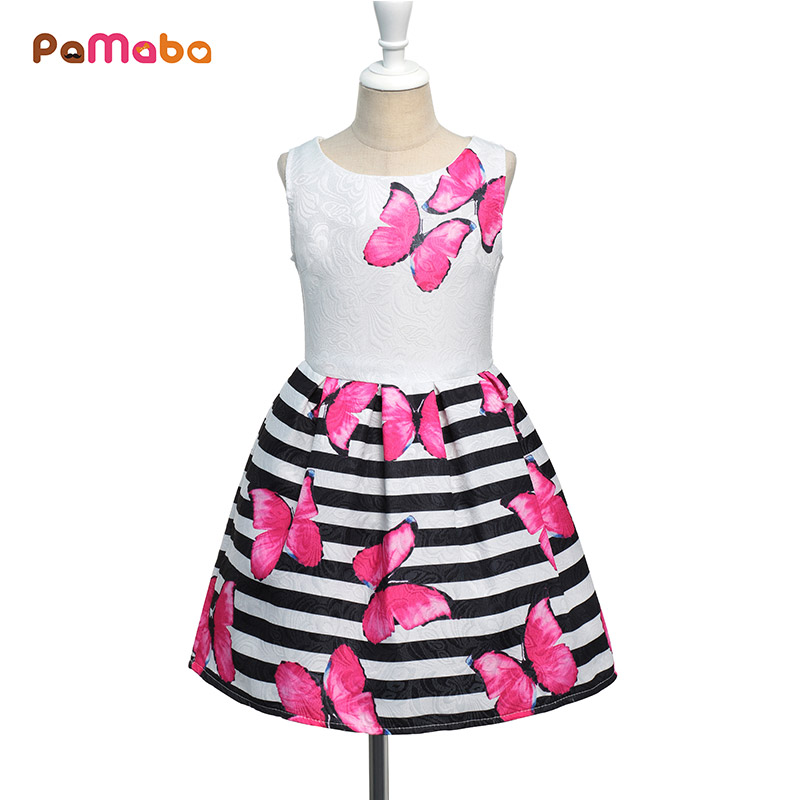PaMaBa Soft Summer Butterfly Print Girl's Dress A-Line Sleeveless Casual Clothing Stripe Children's Elegant Multiway Costume шапка женская roxy fjord blue radiance