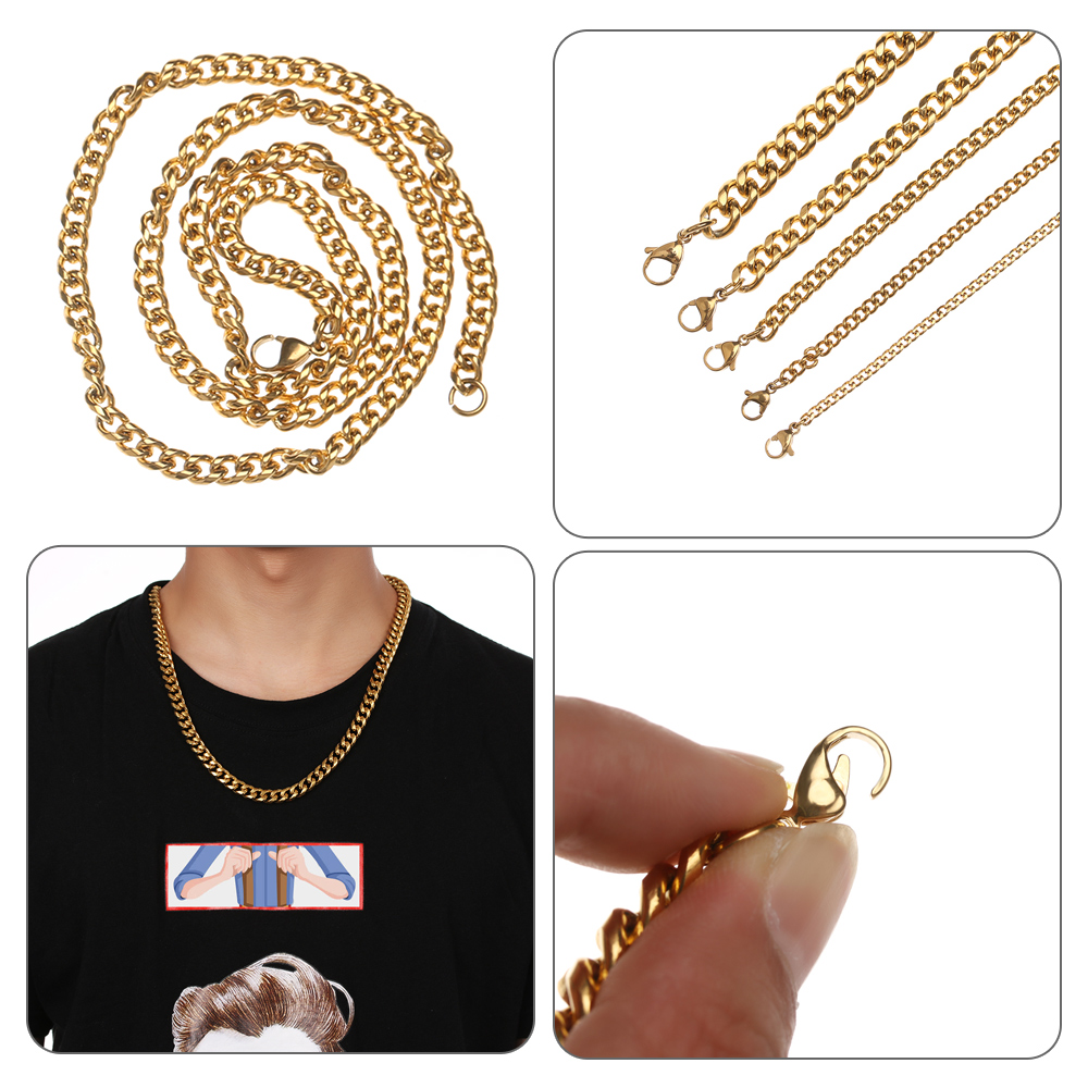 Punk Mens Necklaces Chains Stainless Steel Silver Black Gold Necklace For Men Women Curb Cuban Jewelry 3/4/5/7/9/mm Cool Jewelry Sturdy Construction Jewelry & Accessories Necklaces & Pendants