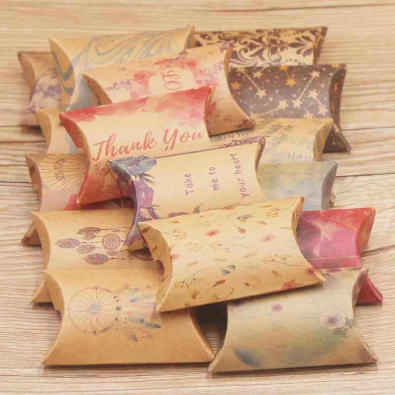 Оптовая продажа, чистый цвет, черно-белая и верблюжья Подушка, форма бумаги и крафт, свадебные конфеты и день рождения, Подарочная коробка размер 2*5,5*8cm10шт/1 лот