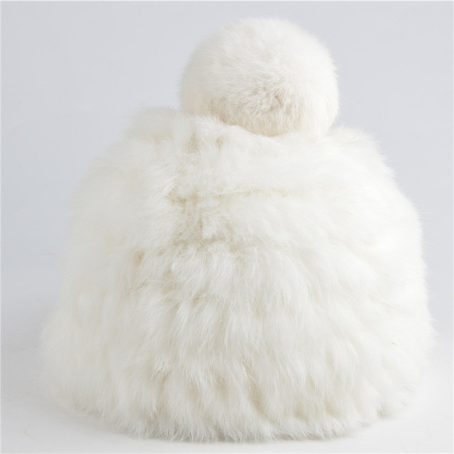 Wholesale 2016 NEW Hot Winter Real Fur Hat Women Fashion Rabbit Fur Hats with Ball Cute Keep Warm Beanies Solid color  N624