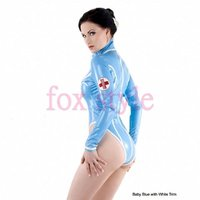 rubber latex Teddies & Bodysuits latex unifrom nurse in sky blue