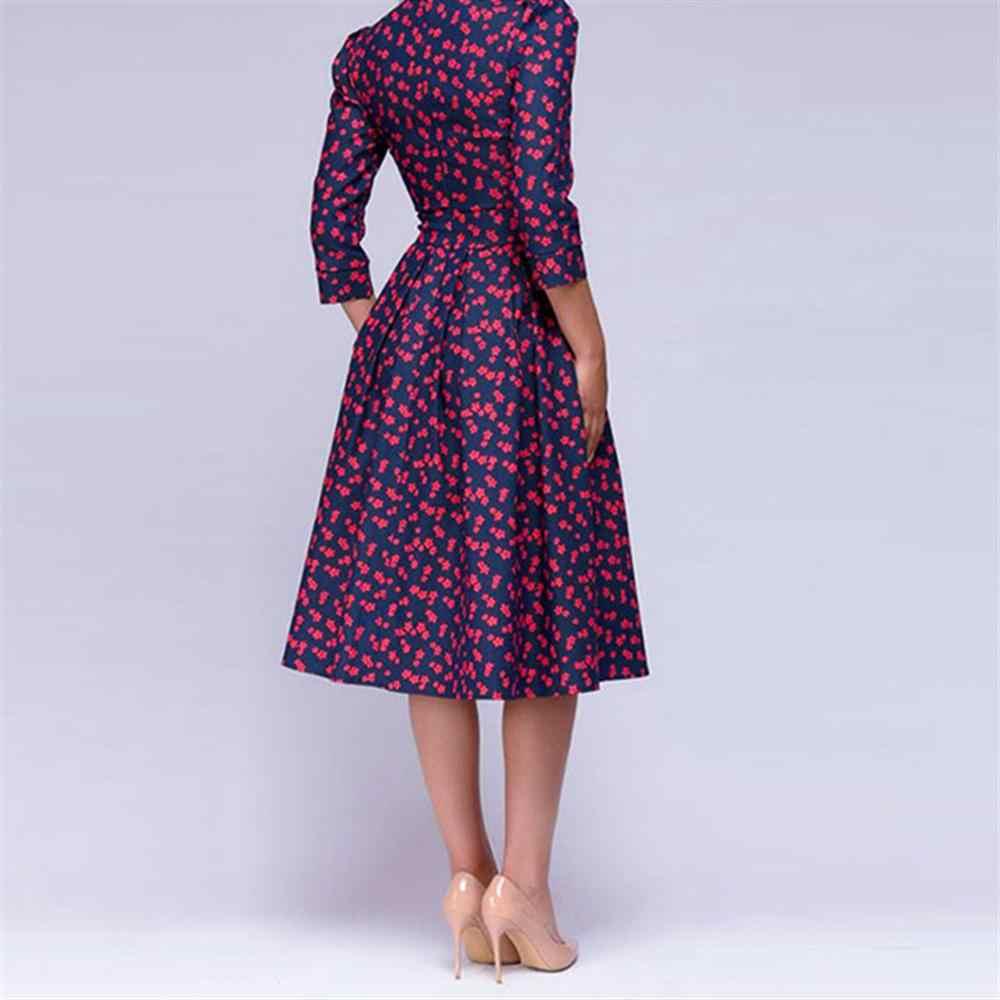 Новое летнее/осеннее женское винтажное элегантное ТРАПЕЦИЕВИДНОЕ ПЛАТЬЕ С Принтом вечерние платья с рукавом три четверти женское тонкое летнее платье
