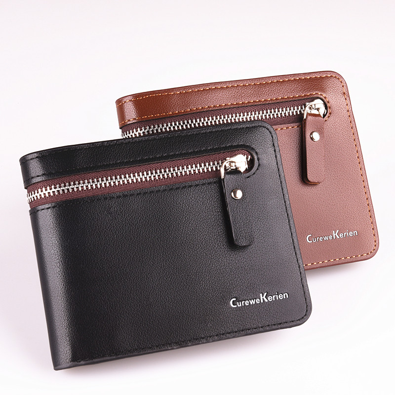 2016 men's wallet Europe and the United States fashion business men short leather zipper purse free shipping