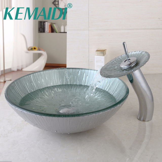KEMAIDI UK Free Shipping Glass Tap+Bathroom Glass Sink Hand Painted ...