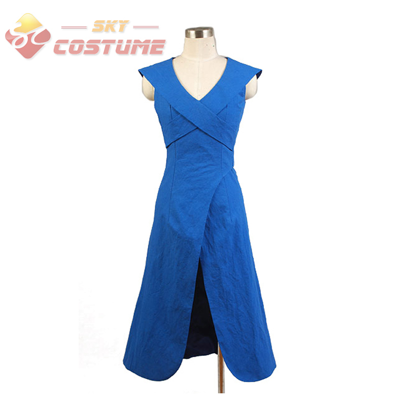 Song of Ice and Fire A Game of Thrones Daenerys Targaryen Linen Party Blue Dress Gown Cosplay Costume Outfit For Adult Women