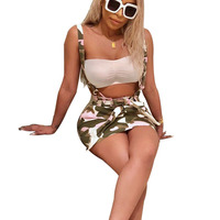 Summer Women's Sexy Club Dress Camouflage Bow Tie Spaghetti Strap Sleeveless Backless Casual Short Mini Dresses SN S3321