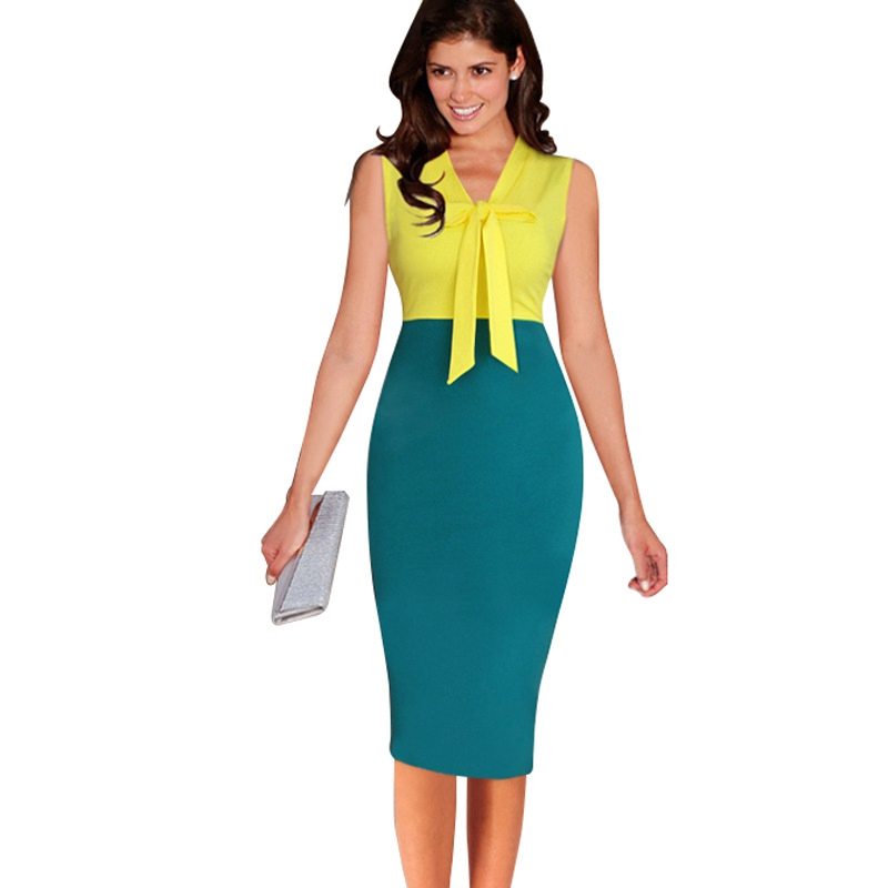 Womens Elegant Bow Sleeveless High Waist Fashion Knee One Piece Dress Suit Casual Work Party Bodycon Pencil Office Dress