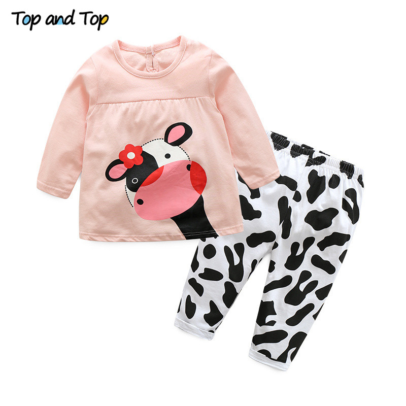 Hot-sale-spring-autumn-baby-girl-clothes-casual-long-sleeved-T-shirtPants-suit-Tracksuit-the-cow-suit-of-the-girls-2