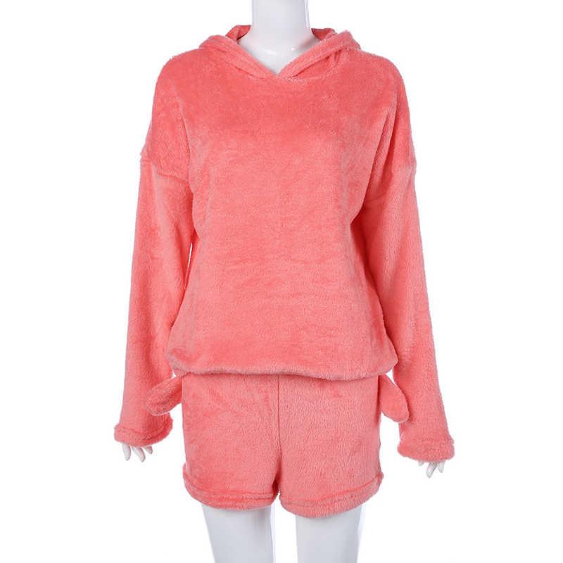 8b1bea8ae2a60 ... Winter Women Bts Pajamas Sets 2 Pcs Coral Velvet Suit Long Sleeve Hooded  Cute Cat Hoodies ...