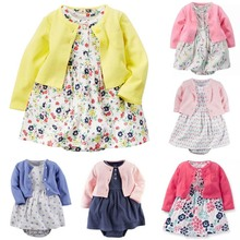 2016 Cotton Newborn Baby Girls Flower Sets 2 PCS Baby Toddler Kids Outfit Suits Long Sleeve Baby Girl Clothing set