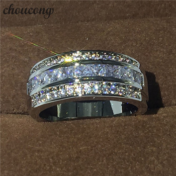 Hot sale Jewelry Male ring 3mm 5A Zircon Cz white gold filled Party Engagement Wedding Band Ring for Men Size 5-11