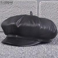 SILOQIN Elegant Women's Genuine Leather Hat Sheepskin Newsboy Caps 2018 New Autumn Winter Lady Beret High Quality Female Hats