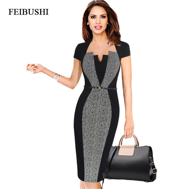 0245f38f4e US $16.6 12% OFF|FEIBUSHI Optical Illusion Contrast Belted 2017 Women  Autumn Vintage Slim Work Office Business Party Bodycon Dress-in Dresses  from ...