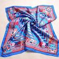 Azul Cuadrado de la Tela Cruzada de Seda Bufanda de Seda de 2016 Mujeres de la Marca Pura bufandas 90*90 cm Borde de la Mano Del Todo-Fósforo Del Otoño Del Resorte Señoras de la Bufanda de Seda Cape