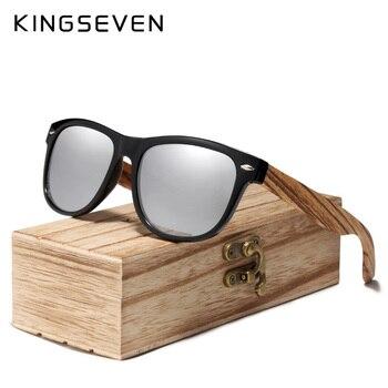 KINGSEVEN 2019 Zebra Natural Wood Polarized Sunglasses Mirror Lens Retro Wooden Frame Women Driving Sun Glasses Shades Gafas Men's Glasses