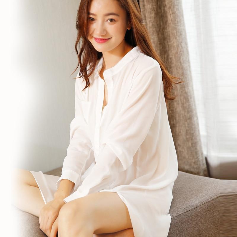 Pullover Button Top Chiffon Nightgown Sleepwear Long Sleeve Night Shirt  Dress Sexy Shirt Women Chiffon Sleepshirts-in Nightgowns   Sleepshirts from  ... e89bdc723