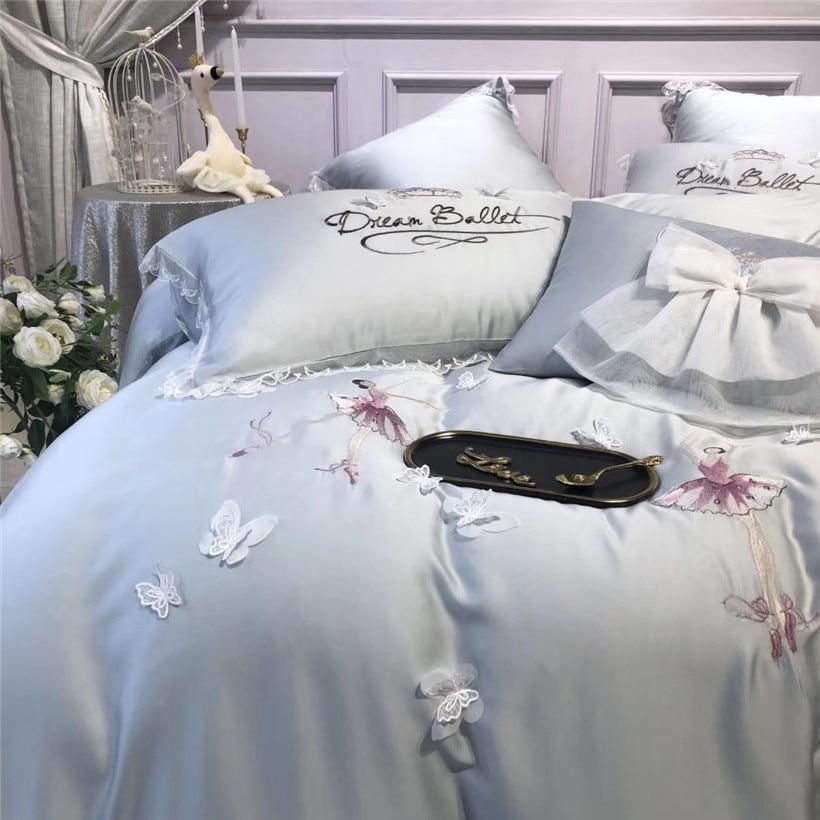 Queen King size 4/7Pcs Tencel Silk Ultra Soft Silky Blue Grey Bedding Set Delicate Butterfly Dance Girls Duvet cover Bed sheet