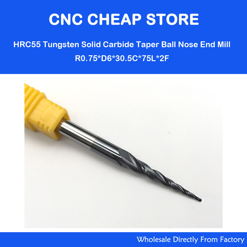 цена на 2pcs/lot R0.75*D6*30.5*75L*2F HRC55 long flute Tungsten carbide Coated Tapered Ball Nose End Mill cone type cnc milling cutter