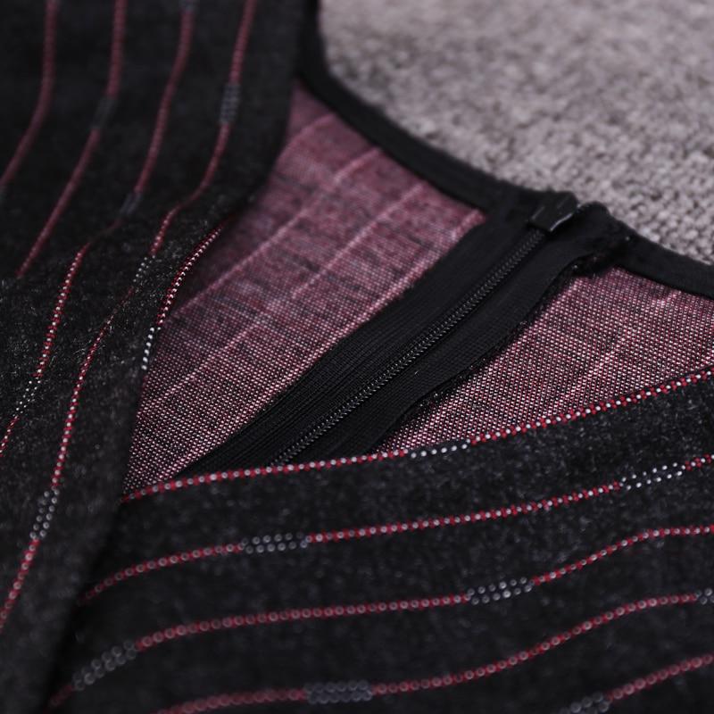 Mode Robe 3xl V Genou 2018 longueur cou Femmes Appliques Samgpilee Manches Black Naturel L De Hiver Casual Poignet A ligne Rayé Nouveau UUnaqRFOwv