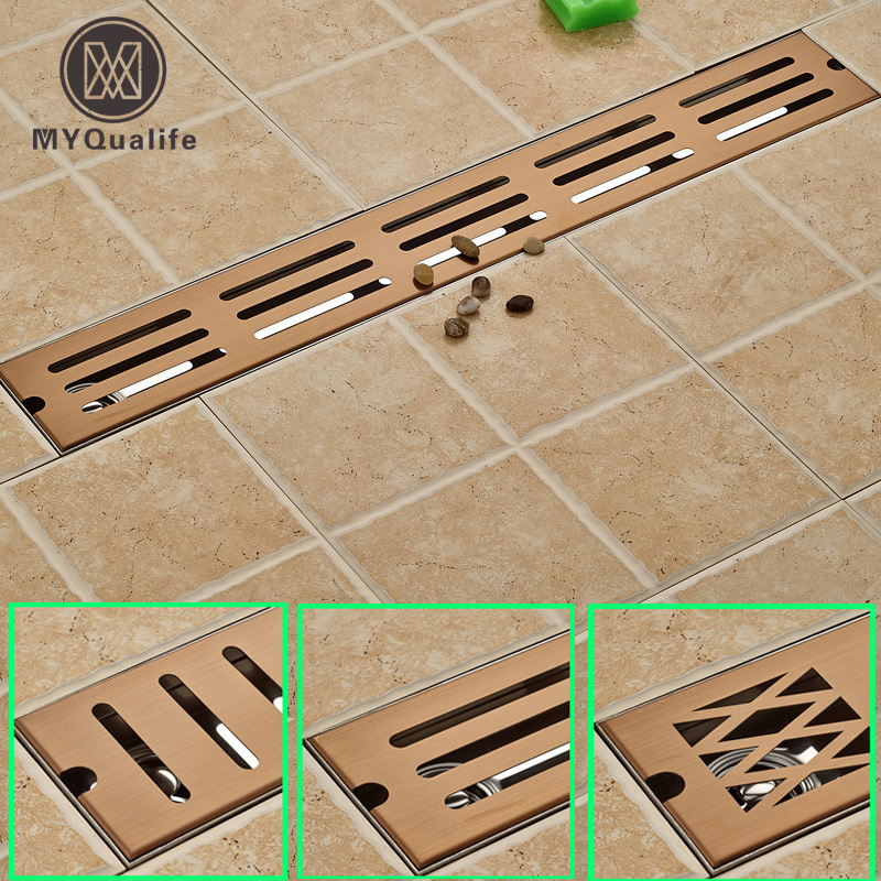 Stainless Steel Bathroom Floor Drain Large Flow Deodorant Pest Control Anti-overflow Blockades Waste Drain Rose Golden Color wall drainage large traffic stainless steel 30cm bathroom surface titanium gold floor drain big flow rate refuse nasty smell
