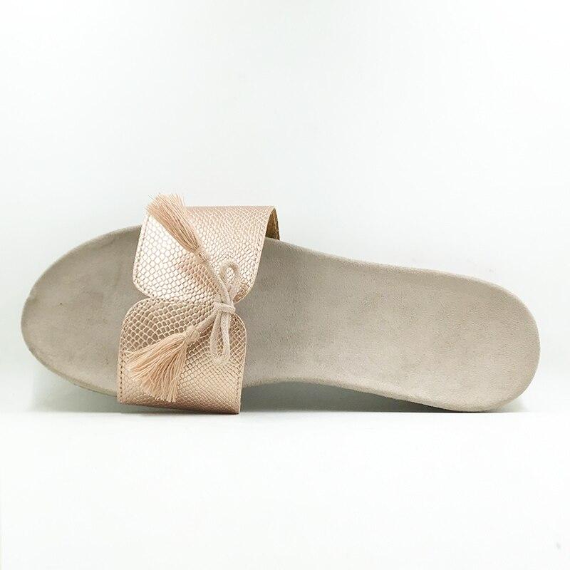 Nouveau 2018 chaussures de Style d'été femmes sandales mode or appartements Top qualité solide Sexy pantoufles taille 5-8 tongs - 3