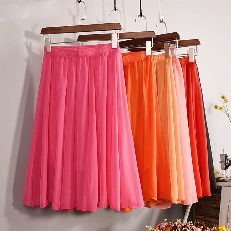 New Fashion Women's 23 Color High Waist Chiffon Skirt 2018 Summer Ladies Casual Slim Beach Pleated Skater Midi Skirts Saia SK17