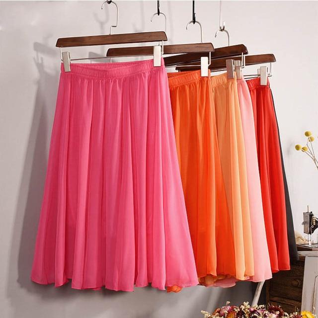 New Fashion Women's 23 Color High Waist Chiffon Skirt 2018 Summer Ladies Casual Slim Beach Pleated Skater Midi Skirts Saia SK17 1