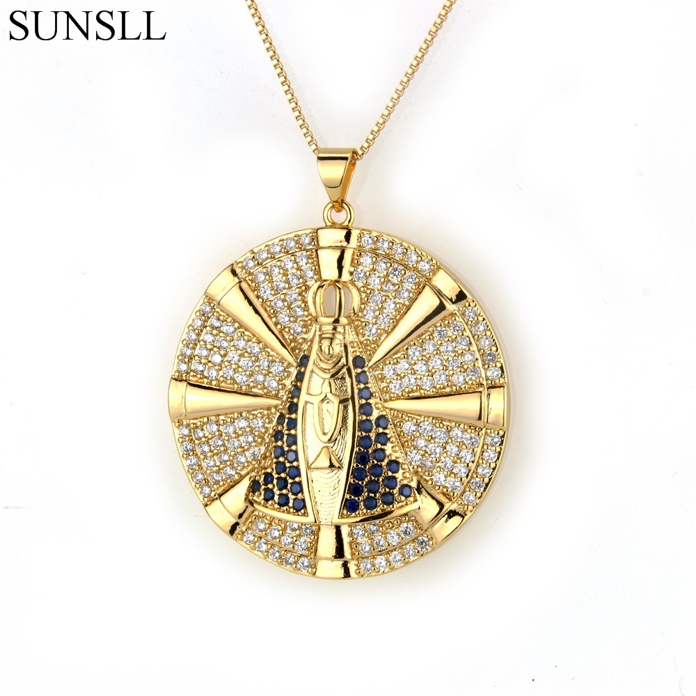 SUNSLL Two Color Copper Multicolor Cubic Zirconia Pendant Necklaces Women's Fashion Jewelry Nossa Senhora CZ Colar Feminina