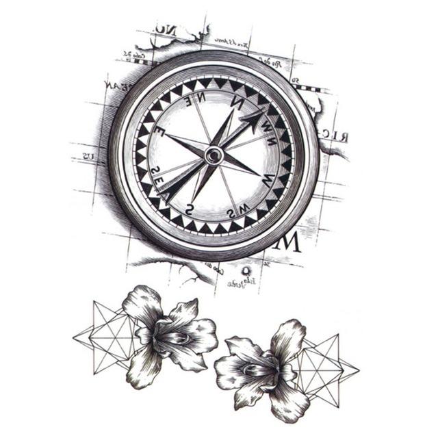f667ff2aea794 Yeeech Temporary Tattoos Sticker for Men Women Arm Leg Back Body Art Fake  Compass Map Lilies Flower Designs Black White Makeup