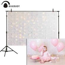Allenjoy fotoğraf backdrop bokeh beyaz glitter tuğla duvar bebek duş arka plan photocall photo booth fotoğraf stüdyosu prop