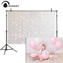 خلفية التصوير من Allenjoy خلفية بوكيه بيضاء لامعة من الطوب جدار استحمام الطفل خلفية للتصوير الفوتوغرافي كشك الصور الدعامة الاستوديو