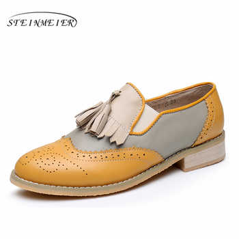 100% Genuine cow leather brogue casual designer vintage lady flats shoes handmade yellow beige oxford shoes for women with fur