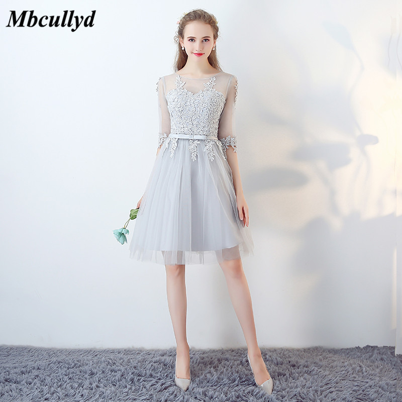Mbcullyd Grey   Bridesmaid     Dresses   2018 Half Sleeves Lace Appliques Formal Wedding Party   Dresses   Sheer Brides Maid   Dress   Vestidos