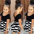Hot Sales Retro Clothing Set Girls Black Shirt + Striped Skirt Kids Black & White Striped Skirts Baby Pure Color Tees Tops