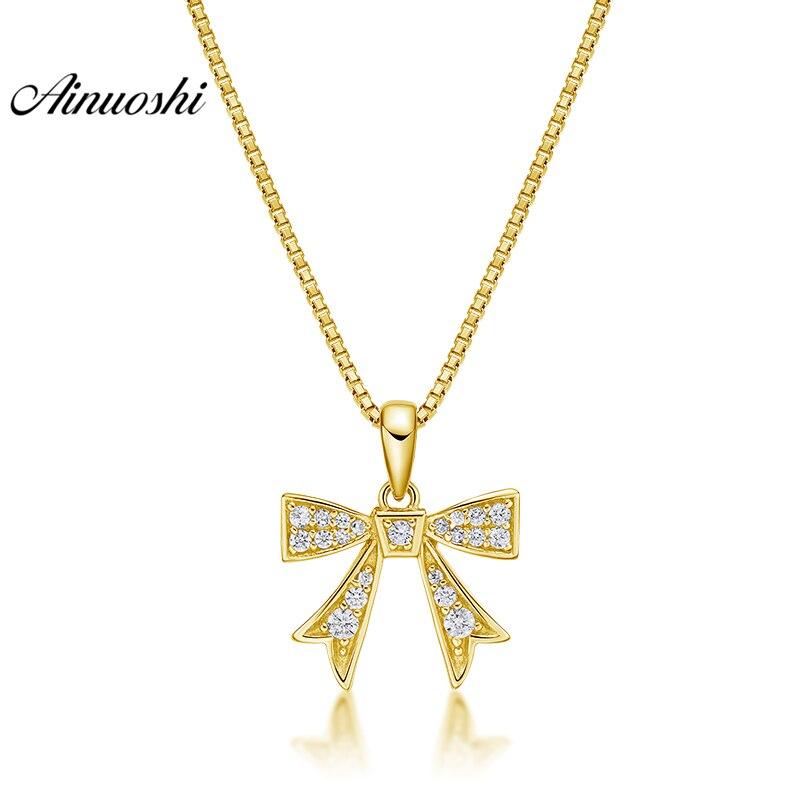 AINUOSHI 10K Solid Yellow Gold Pendant Bowknot Pendant SONA Diamond Women Men Child Jewelry Lovely Bow Design Separate Pendant