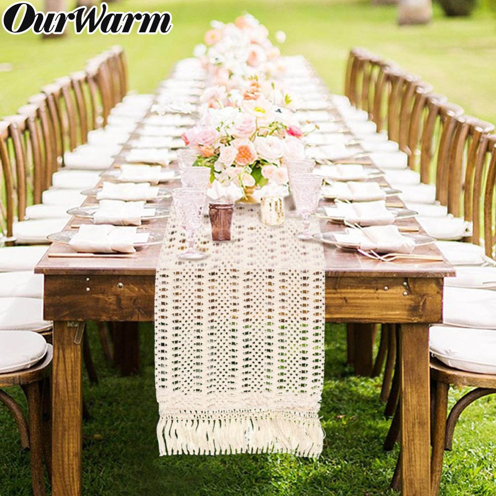 OurWarm Hollow Out Macrame Table Runner Boho Wedding Decoration 30x274CM Morocco Nordic Style Boho Table Runner With Tassels