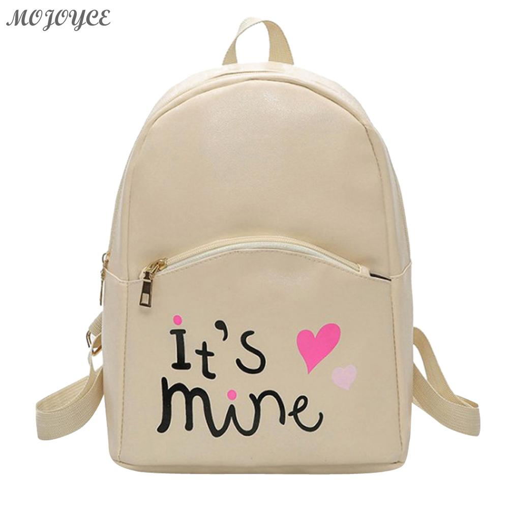 MOJOYCE  Preppy Chic Women Mini Backpack Girls Casual Letter Printed School Bag Female PU Leather Travel Rucksack Mochilas