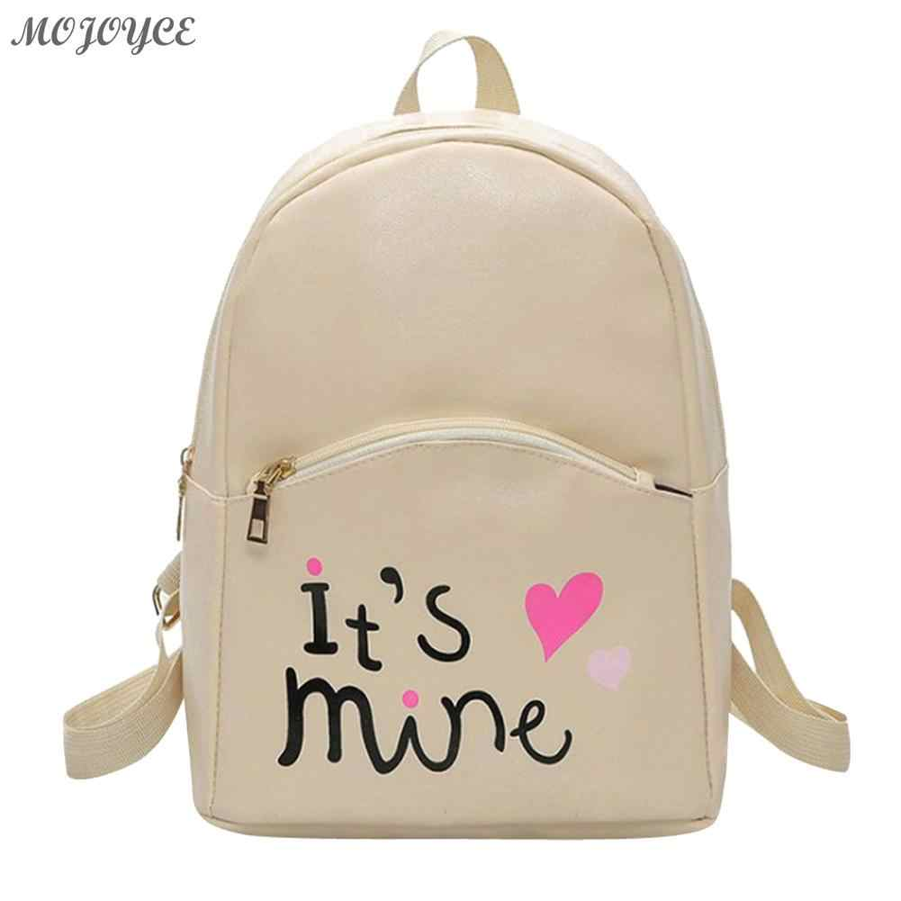 79aa25d584a7 MOJOYCE Preppy Chic Women Mini Backpack Girls Casual Letter Printed School  Bag Female PU Leather Travel