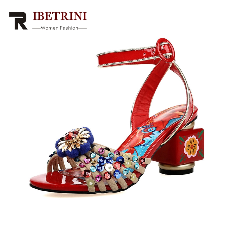 RIBETRINI 2018 Summer Brand Ethnic Genuine Leather Women Sandals High Strange Heels Beautiful Print Shoes Woman Big Size 34-40 ribetrini summer large size 34 40 cow genuine leather woman shoes mix color leisure flats women shoes sneakers