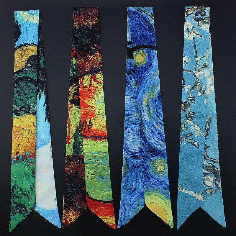 Galaxy Oil Painting Hand Bag Ribbons 2019 New Print Silk   Scarf   Women Female Headwear Handbag Small Long   Scarves   &   Wraps