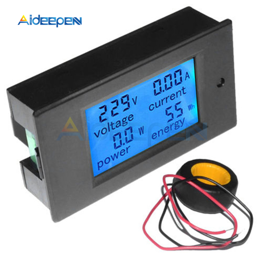 100A 80-260V Digital AC Voltage Meters Power Energy Analog Voltmeter Ammeter Watt Current Amps Volt Meter LCD Panel Monitor
