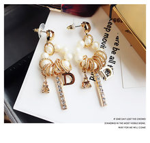 New Fashion silver 925 Multi-element Eiffel Tower L Pendant Tassel Earrings Wild Long Pendientes For Women jewelry(China)