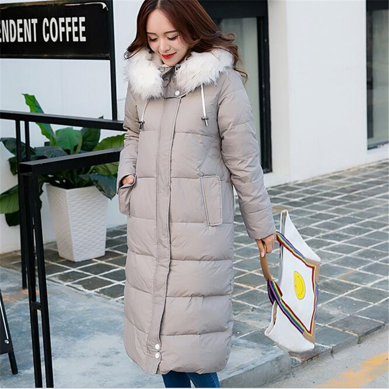 ФОТО New Coats 2016Parka Hooded Winter Jacket Women Fur Collar Winter Coat Women Zipper Women's X-Long Jacket A2511